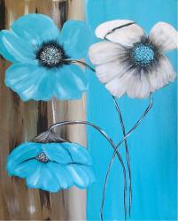 Flori tablou pictat manual Corina Tamas dimensiune 40 x 50 cm Tablouri