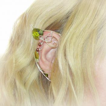 Cercei Urechi de elf Elven Rose Design Sylvan Whispers handmade placat argint cristale Swarovski Cercei
