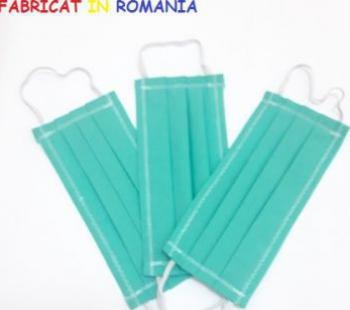 Set de 3 masti de protectie reutilizabile turquoise din bumbac Masti chirurgicale si reutilizabile