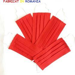 Set de 5 masti de protectie reutilizabile rosii din bumbac Masti chirurgicale si reutilizabile