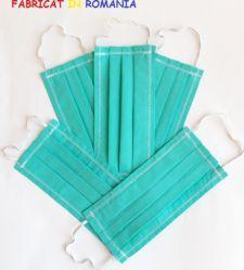 Set de 5 masti de protectie reutilizabile turquoise din bumbac Masti chirurgicale si reutilizabile