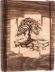 Agenda coperti lemn personalizata prin gravura Copacul din carte Vintage Box A5 -nuc inchis Hartie si produse din hartie