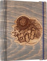 Agenda coperti lemn personalizata prin gravura Dor de plaja Vintage Box A5 - gri