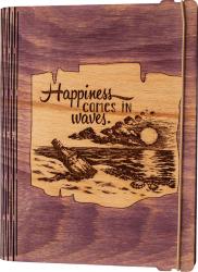 Agenda coperti lemn personalizata prin gravura Fericirea vine in valuri Vintage Box A5 - mov