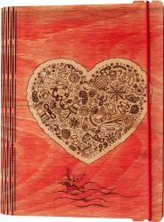 Agenda coperti lemn personalizata prin gravura Iubesc Marea Vintage Box A5 - rosu