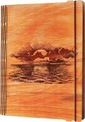 Agenda coperti lemn personalizata prin gravura Rasarit la mare Vintage Box A5 - portocaliu