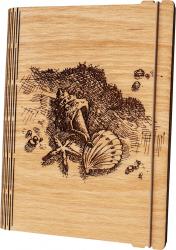 Agenda coperti lemn personalizata prin gravura Scoici pe nisip Vintage Box A5 - stejar auriu