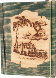 Agenda coperti lemn personalizata prin gravura Summer Vintage Box A5 - verde