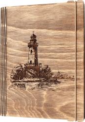 Agenda coperti lemn personalizata prin gravura Vechiul Far Vintage Box A5 - nuc deschis