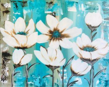 Anemone flori tablou pictat manual Corina Tamas 50 x 40 Tablouri