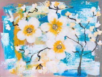 Flori de mar tablou modern pictat manual Corina Tamas dimensiune 40 x 30 cm Tablouri