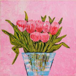 Lalele in vaza tablou pictat manual Corina Tamas dimensiune 40 x 40 cm Tablouri