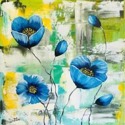 Maci Albastrii tablou pictat manual Corina Tamas dimensiune 40 x 40 cm Tablouri