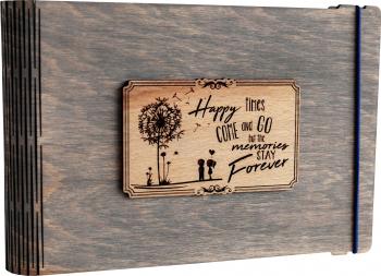 Album foto / GuestBook / Caiet amintiri VintageBox personalizata prin gravare model Papadie - gri