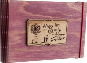 Album foto / GuestBook / Caiet amintiri VintageBox personalizata prin gravare model Papadie - roz