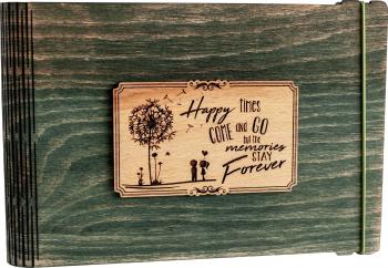 Album foto / GuestBook / Caiet amintiri VintageBox personalizata prin gravare model Papadie - verde