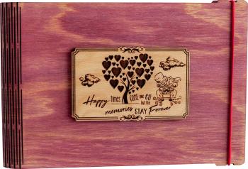 pret preturi Album foto / GuestBook / Caiet amintiri VintageBox personalizata prin gravare model Proaspat Casatoriti - roz