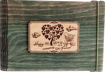 Album foto / GuestBook / Caiet amintiri VintageBox personalizata prin gravare model Proaspat Casatoriti - verde