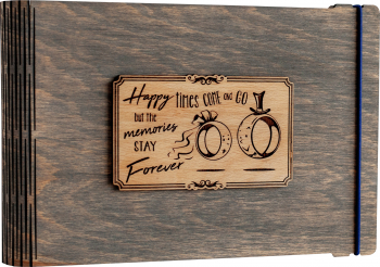Album foto / GuestBook / Caiet amintiri VintageBox personalizata prin gravare model Verighete vesele - gri