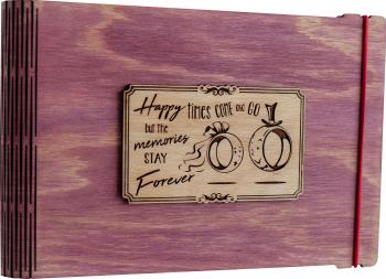 Album foto / GuestBook / Caiet amintiri VintageBox personalizata prin gravare model Verighete vesele - roz