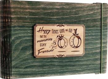Album foto / GuestBook / Caiet amintiri VintageBox personalizata prin gravare model Verighete vesele - verde