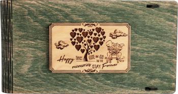Cutie din lemn pentru stick USB + loc fotografii VintageBox personalizata prin gravare model Proaspat Casatoriti - gri