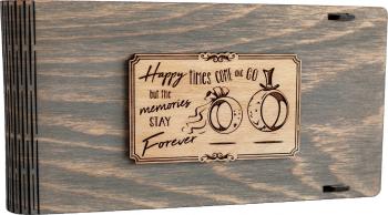 Cutie din lemn pentru stick USB + loc fotografii VintageBox personalizata prin gravare model Verighete vesele - Gri
