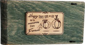 Cutie din lemn pentru stick USB + loc fotografii VintageBox personalizata prin gravare model Verighete vesele - verde