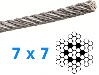 Cablu din inox superior grosime de 5mm lungime 1 metru AISI316 Accesorii materiale de constructie
