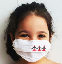 Masca faciala copii motive traditionale cusute din bumbac organic Hora Romaniei Vitamine si Suplimente nutritive