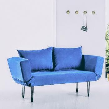 Canapea extensibila Sigma Seul 2 Locuri Albastru Deschis Stofa Canapele