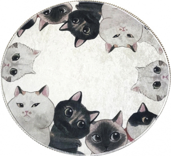 Covor de Baie Angry Cats Chilai Rotund 100 cm Material 100 Acril Multicolor