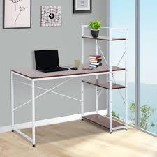 Masa de birou cu rafturi Alb+Nuc
