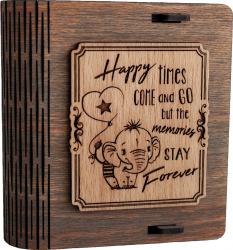 Cutie mica din lemn pentru stick USB VintageBox personalizata prin gravare model Elefantelul iubaret culoare gri