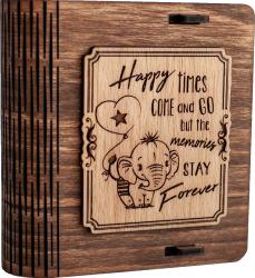 Cutie mica din lemn pentru stick USB VintageBox personalizata prin gravare model Elefantelul iubaret culoare nuc inchis