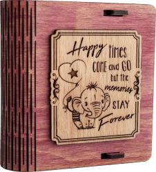 Cutie mica din lemn pentru stick USB VintageBox personalizata prin gravare model Elefantelul iubaret culoare roz