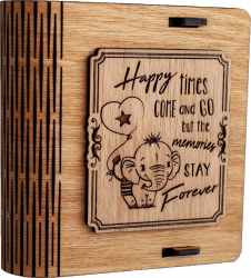 Cutie mica din lemn pentru stick USB VintageBox personalizata prin gravare model Elefantelul iubaret culoare stejar auriu