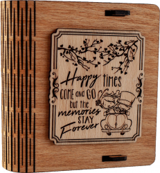Cutie mica din lemn pentru stick USB VintageBox personalizata prin gravare model Pe drum impreuna culoare Stejar auriu Cutii depozitare