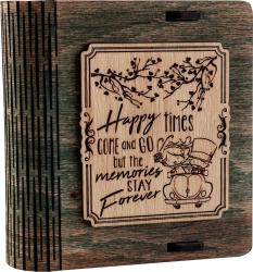 Cutie mica din lemn pentru stick USB VintageBox personalizata prin gravare model Pe drum impreuna culoare Verde Cutii depozitare