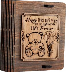Cutie mica din lemn pentru stick USB VintageBox personalizata prin gravare model Ursuletul de plus culoare Gri