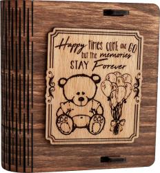 Cutie mica din lemn pentru stick USB VintageBox personalizata prin gravare model Ursuletul de plus culoare Nuc inchis Cutii depozitare