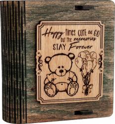 Cutie mica din lemn pentru stick USB VintageBox personalizata prin gravare model Ursuletul de plus culoare Stejar auriu