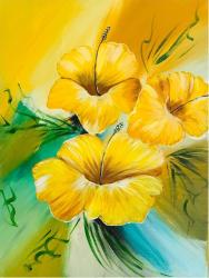 Hibiscus tablou pictat manual Corina Tamas dimensiune 30 x 40 cm Tablouri