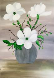 Magnolii in vaza tablou pictat manual Corina Tamas dimensiune 35 x 50 cm Tablouri