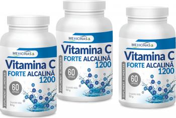 Vitamina C Forte Alcalina 1200 - Pachet 3 luni - Cea mai puternica vitamina C 60cps.