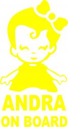 Sticker auto Andra on Board culoare galbena