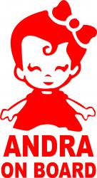 Sticker auto Andra on Board culoare rosie
