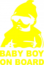 Sticker auto Baby Boy On Board culoare galben