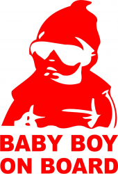 Sticker auto Baby Boy On Board culoare rosie
