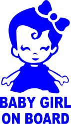 Sticker auto baby girl on board culoare albastra